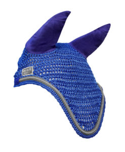 KM Elite Horse Fly Veil Blue and Silver