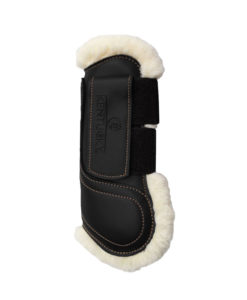 Kentucky Horsewear Sheepskin Leather Tendon Boots with Velcro Closure Black