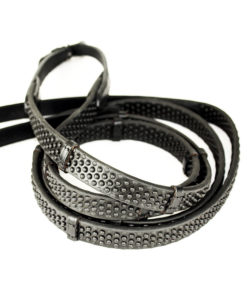 KM Elite Pro Grip Eventer Rubber Reins with Stoppers Black