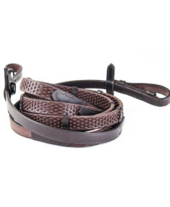 KM Elite Pro Grip Eventer Rubber Reins with Stoppers Brown